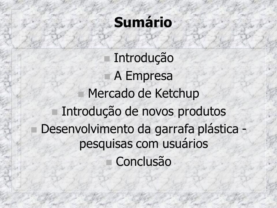 Sumário Introdução A Empresa Mercado de Ketchup