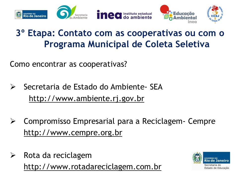 3º Etapa: Contato com as cooperativas ou com o Programa Municipal de Coleta Seletiva