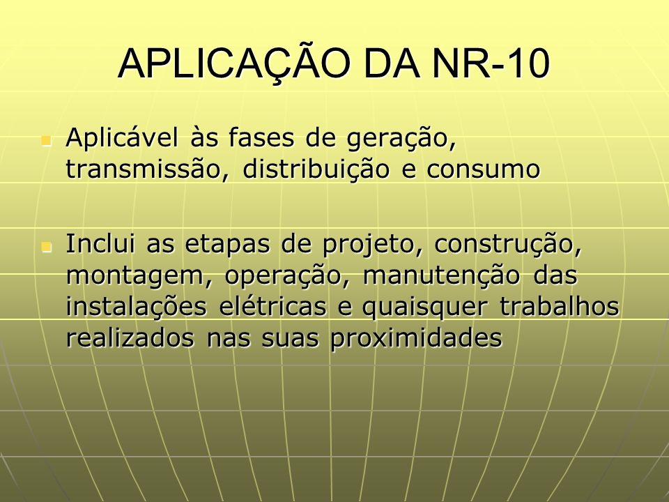APLICAÇÃO DA NR-10 Aplicável às fases de geração, transmissão, distribuição e consumo.