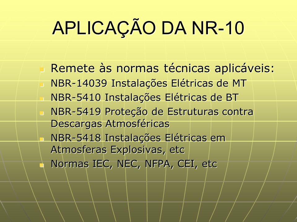 APLICAÇÃO DA NR-10 Remete às normas técnicas aplicáveis:
