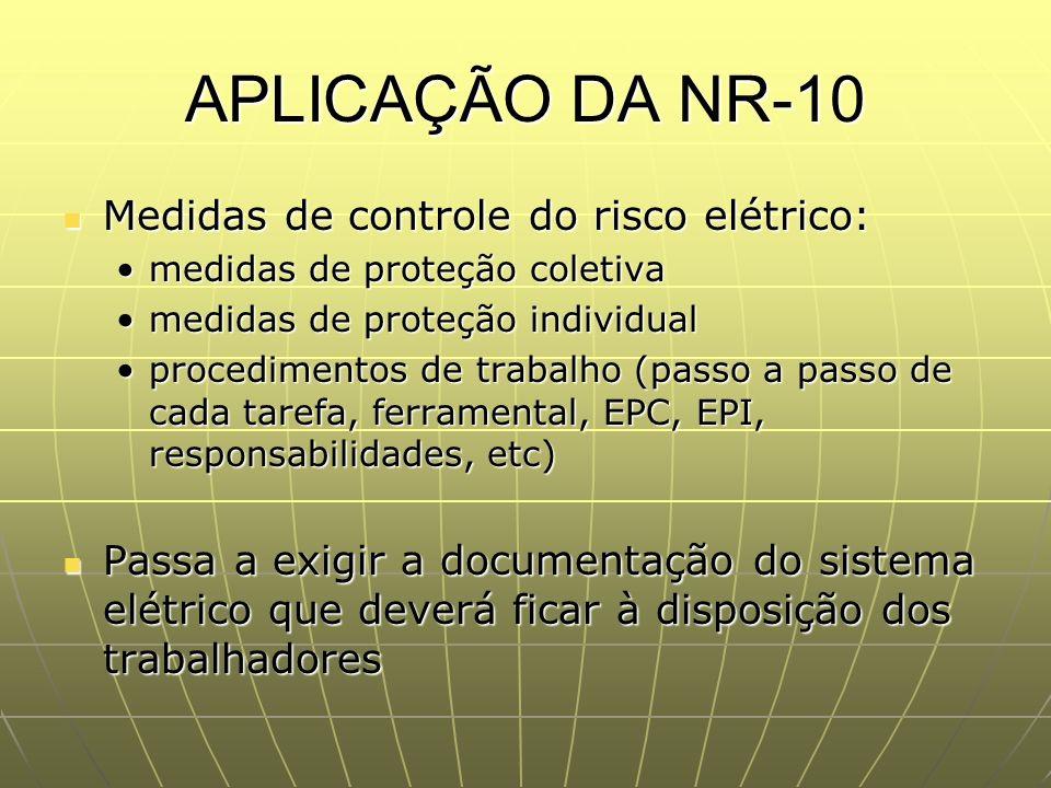 APLICAÇÃO DA NR-10 Medidas de controle do risco elétrico: