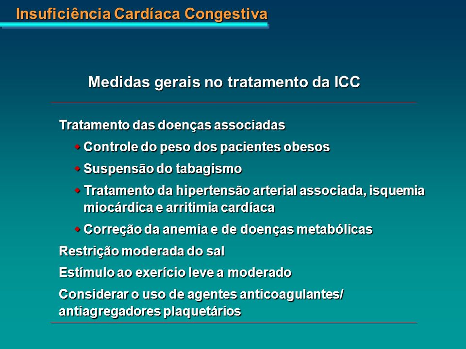 Medidas gerais no tratamento da ICC