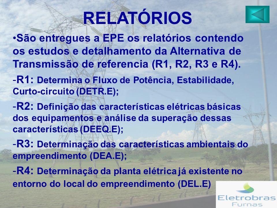 RELATÓRIOS São entregues a EPE os relatórios contendo os estudos e detalhamento da Alternativa de Transmissão de referencia (R1, R2, R3 e R4).