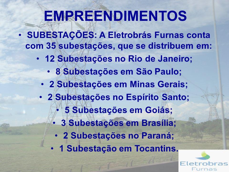 EMPREENDIMENTOS SUBESTAÇÕES: A Eletrobrás Furnas conta com 35 subestações, que se distribuem em: 12 Subestações no Rio de Janeiro;