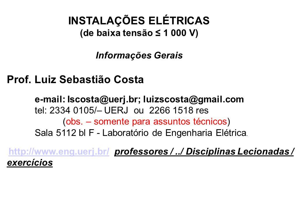 INSTALAÇÕES ELÉTRICAS (de baixa tensão ≤ 1 000 V)