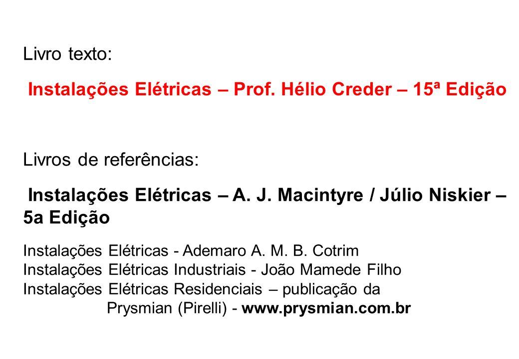Livro texto: Instalações Elétricas – Prof. Hélio Creder – 15ª Edição