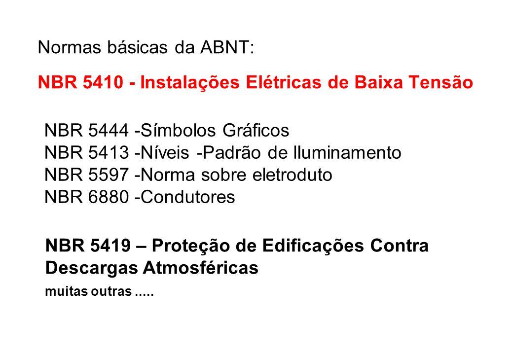 Normas básicas da ABNT: NBR 5410 - Instalações Elétricas de Baixa Tensão
