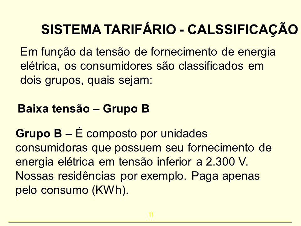 SISTEMA TARIFÁRIO - CALSSIFICAÇÃO