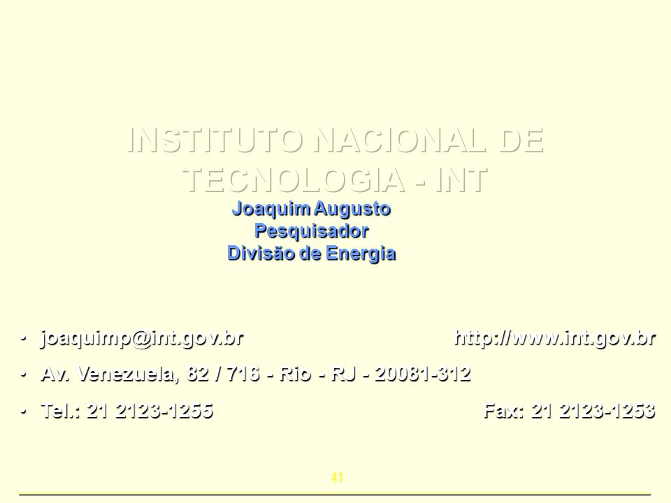 INSTITUTO NACIONAL DE TECNOLOGIA - INT