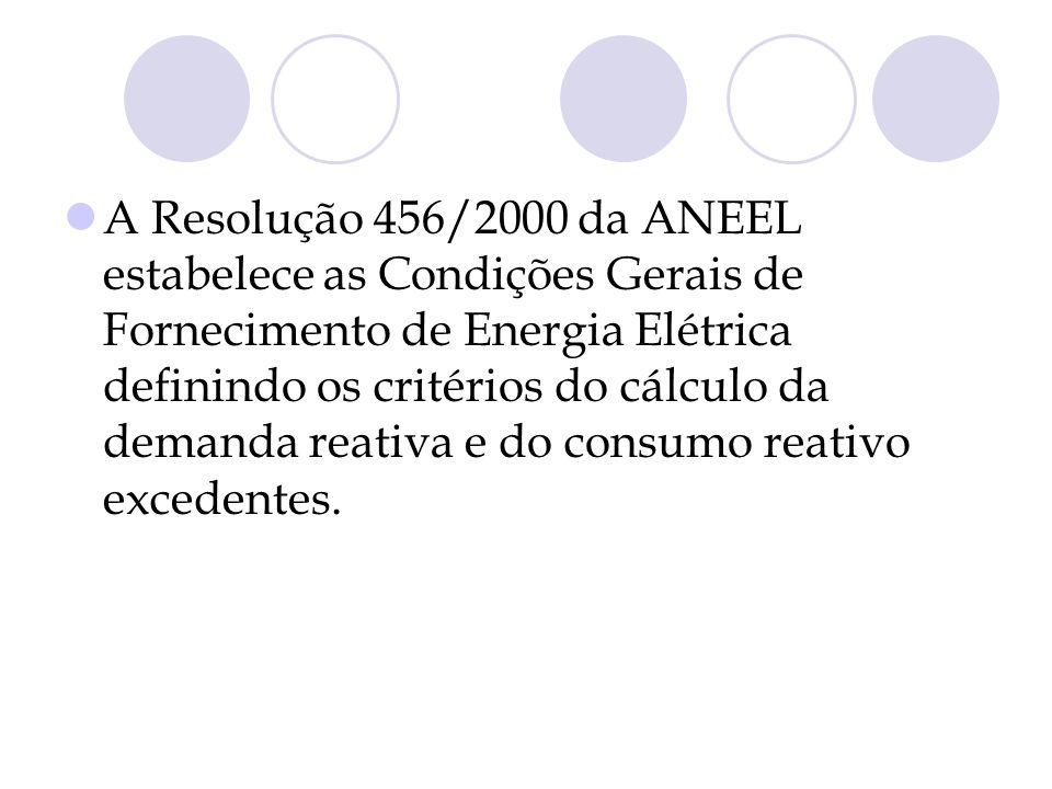 A Resolução 456/2000 da ANEEL estabelece as Condições Gerais de Fornecimento de Energia Elétrica definindo os critérios do cálculo da demanda reativa e do consumo reativo excedentes.