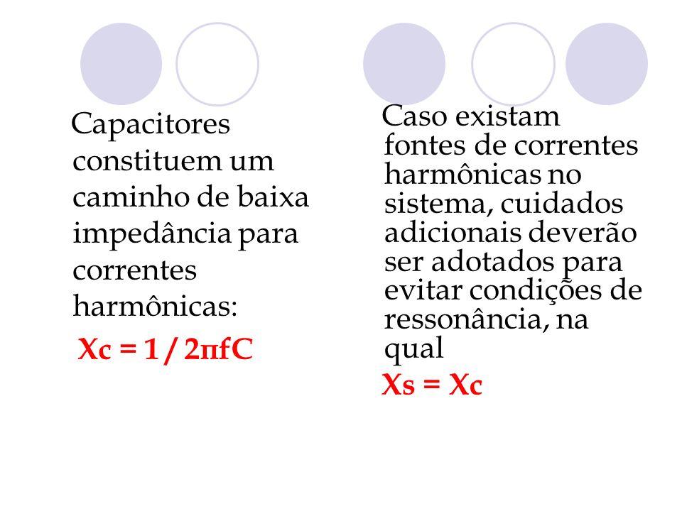 Capacitores constituem um caminho de baixa impedância para correntes harmônicas: