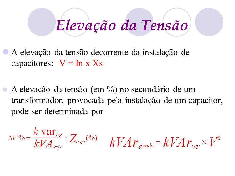 Elevação da Tensão A elevação da tensão decorrente da instalação de capacitores: V = In x Xs.