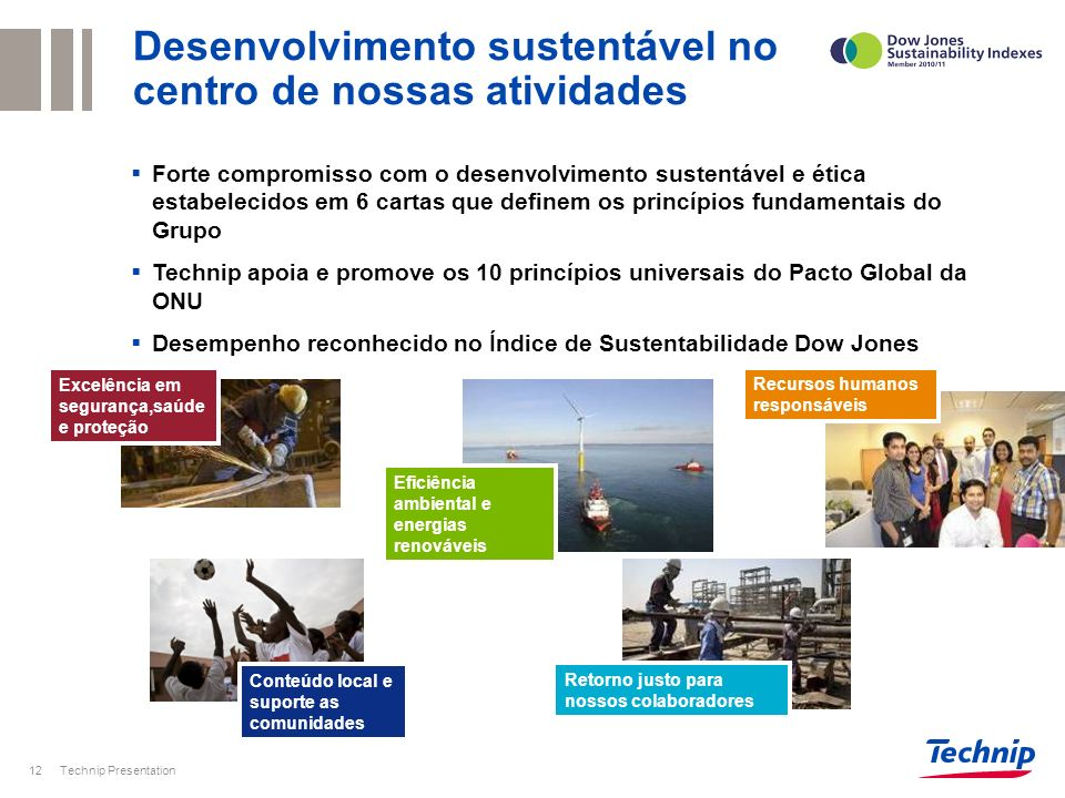 Desenvolvimento sustentável no centro de nossas atividades