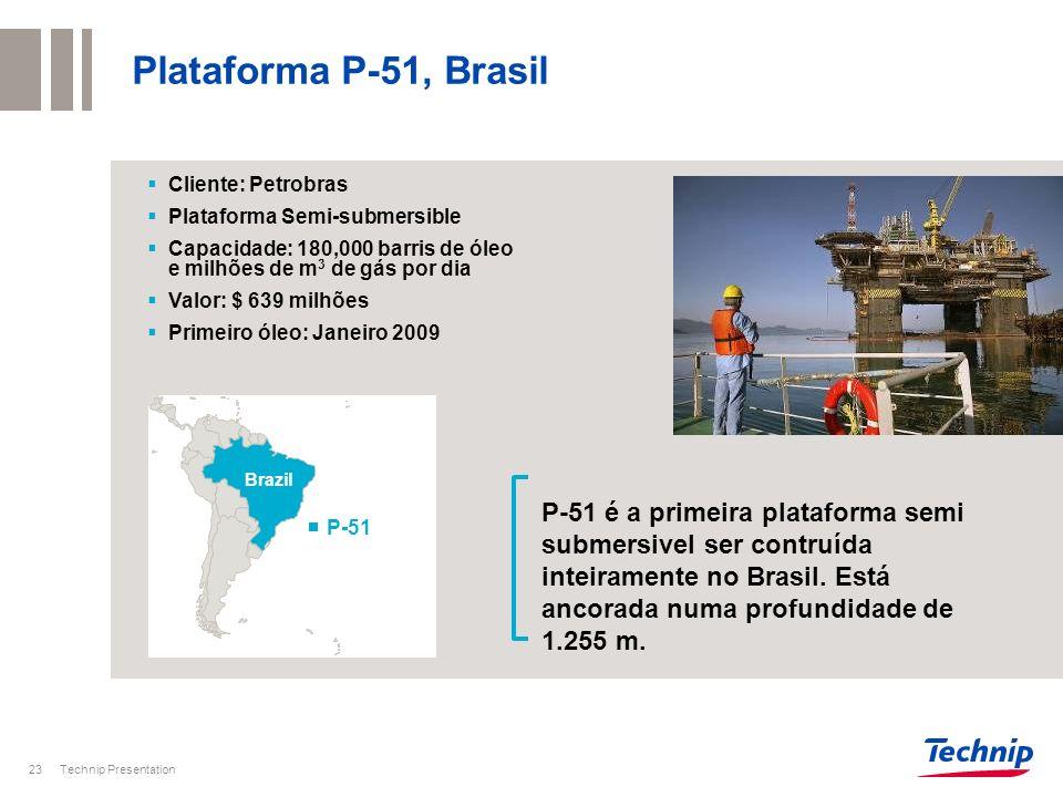Plataforma P-51, Brasil Cliente: Petrobras. Plataforma Semi-submersible. Capacidade: 180,000 barris de óleo e milhões de m3 de gás por dia.