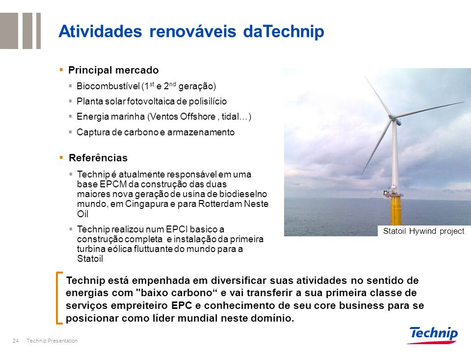 Atividades renováveis daTechnip