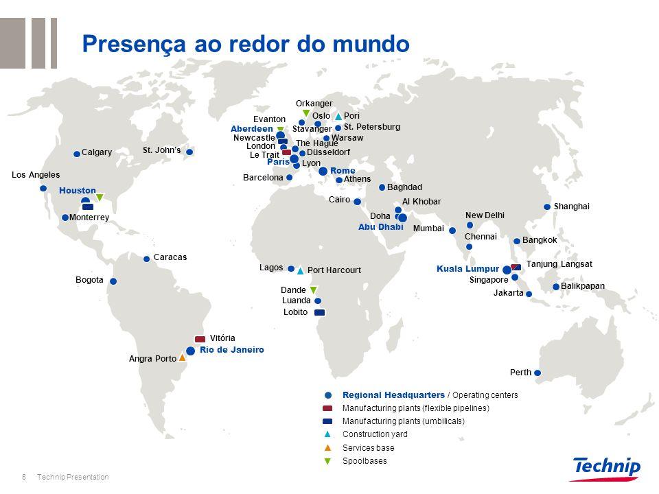 Presença ao redor do mundo