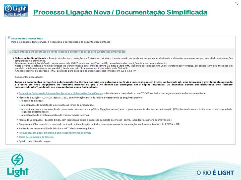 Processo Ligação Nova / Documentação Simplificada