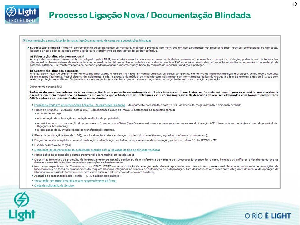Processo Ligação Nova / Documentação Blindada