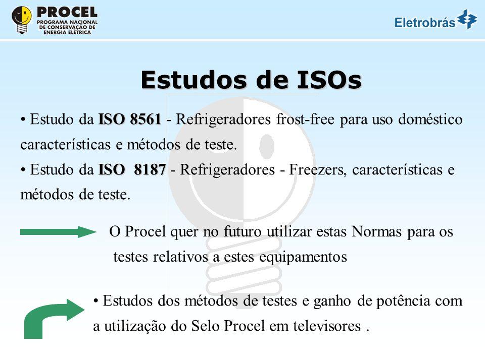 Estudos de ISOs Estudo da ISO 8561 - Refrigeradores frost-free para uso doméstico. características e métodos de teste.