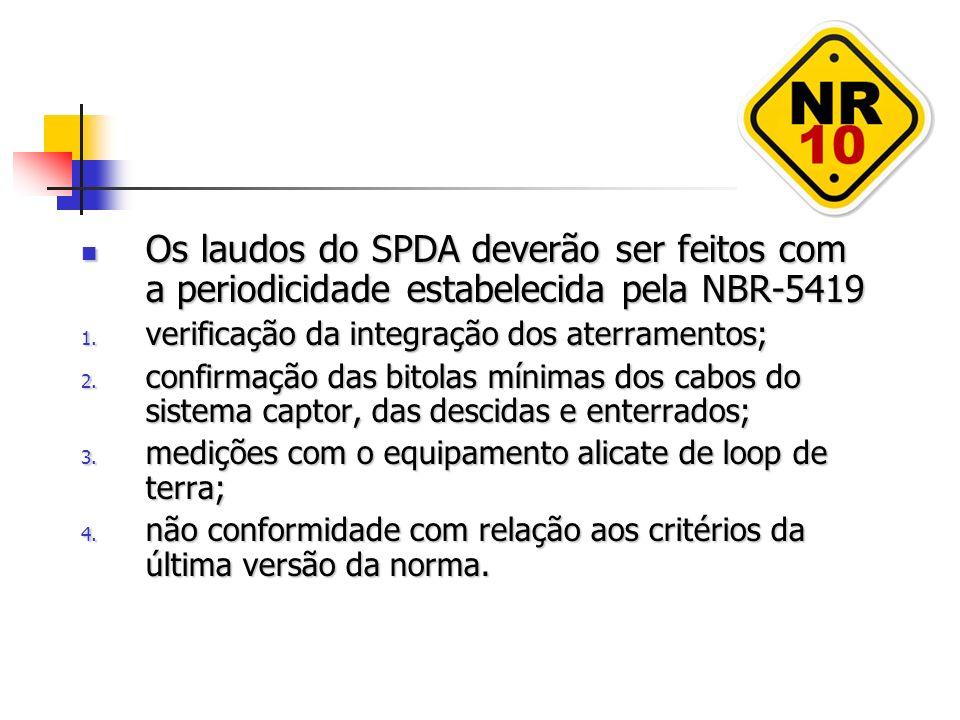 Os laudos do SPDA deverão ser feitos com a periodicidade estabelecida pela NBR-5419