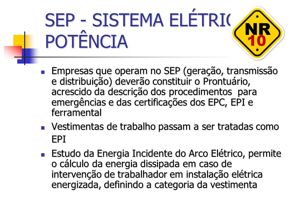SEP - SISTEMA ELÉTRICO DE POTÊNCIA