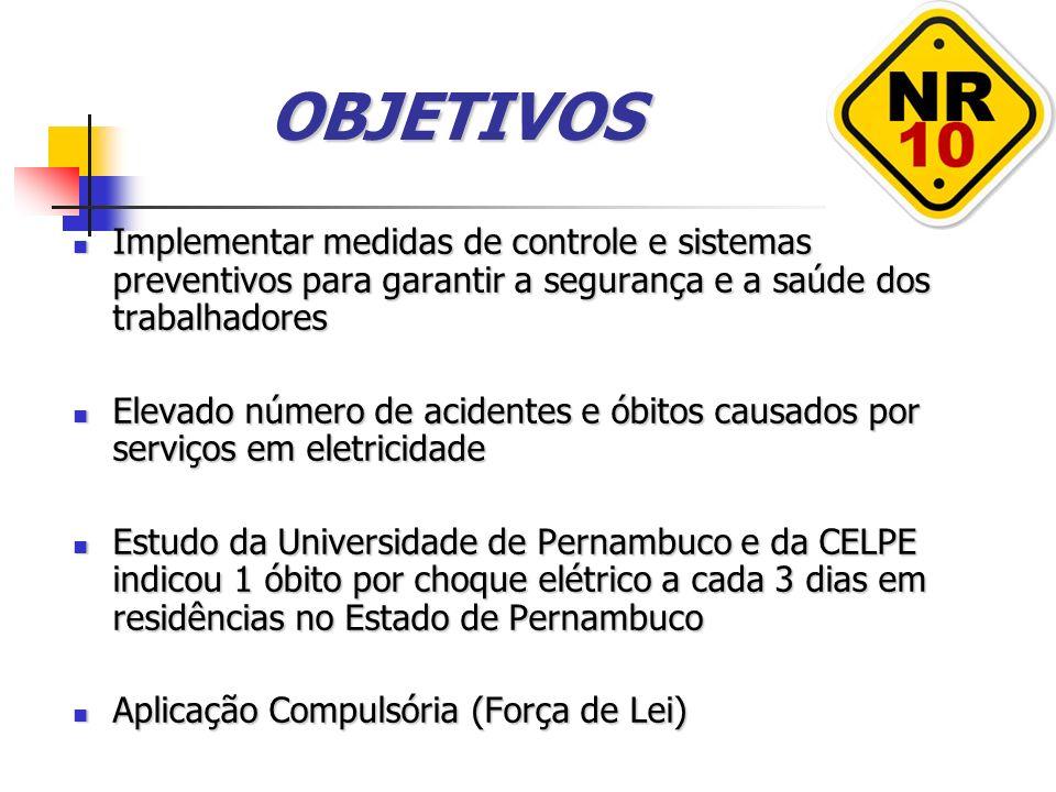 OBJETIVOS Implementar medidas de controle e sistemas preventivos para garantir a segurança e a saúde dos trabalhadores.