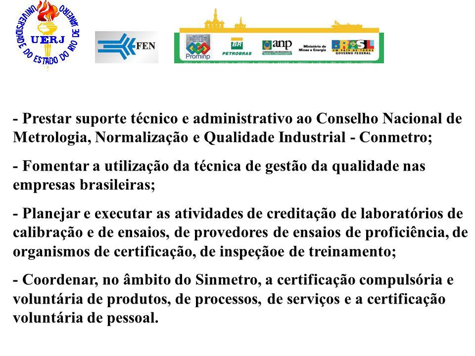 - Prestar suporte técnico e administrativo ao Conselho Nacional de Metrologia, Normalização e Qualidade Industrial - Conmetro;