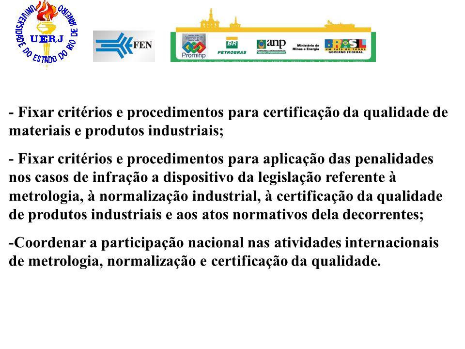 - Fixar critérios e procedimentos para certificação da qualidade de materiais e produtos industriais;
