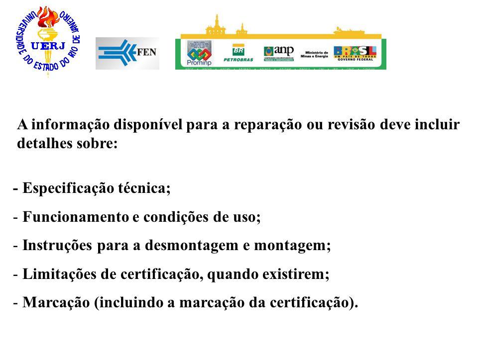 A informação disponível para a reparação ou revisão deve incluir detalhes sobre: