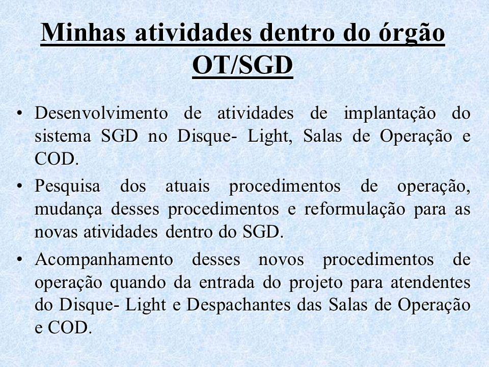 Minhas atividades dentro do órgão OT/SGD