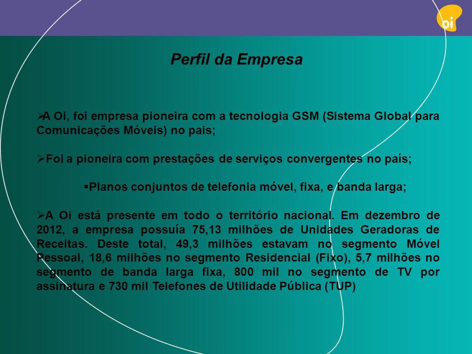 Perfil da EmpresaA Oi, foi empresa pioneira com a tecnologia GSM (Sistema Global para Comunicações Móveis) no pais;