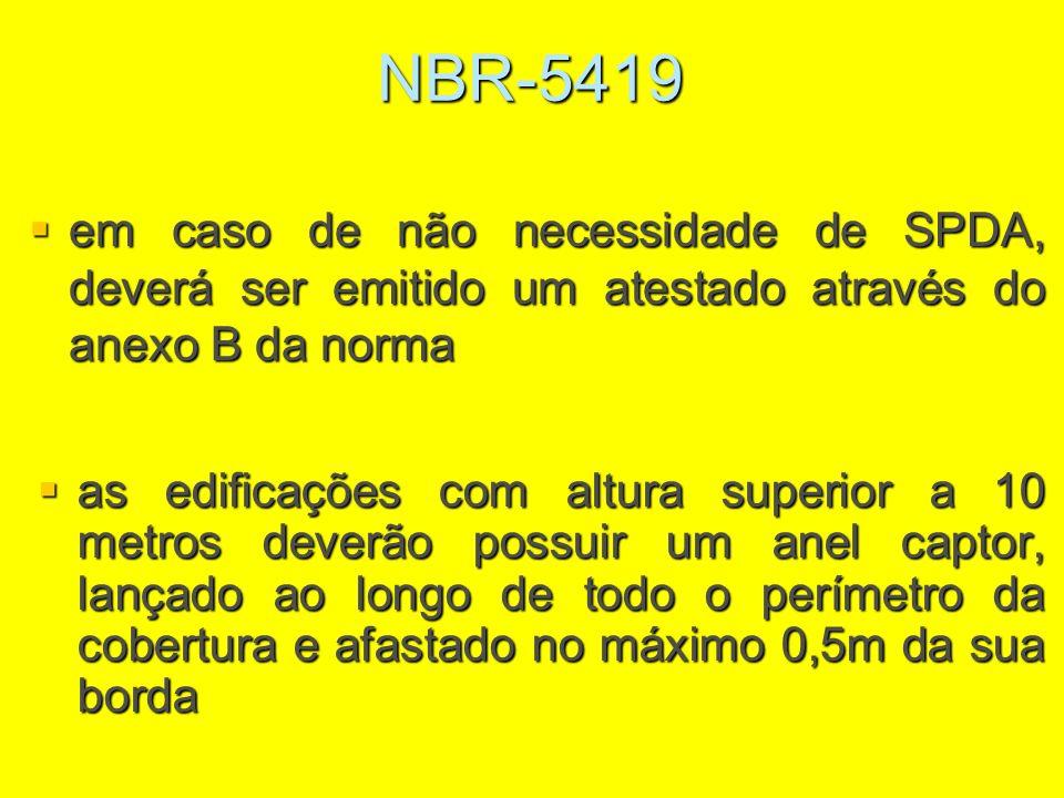 NBR-5419 em caso de não necessidade de SPDA, deverá ser emitido um atestado através do anexo B da norma.