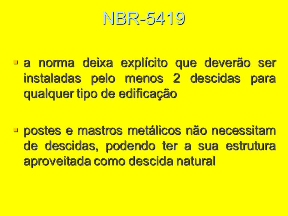 NBR-5419 a norma deixa explícito que deverão ser instaladas pelo menos 2 descidas para qualquer tipo de edificação.