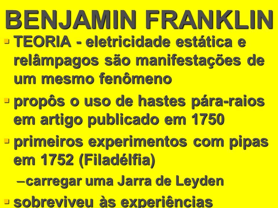 BENJAMIN FRANKLIN TEORIA - eletricidade estática e relâmpagos são manifestações de um mesmo fenômeno.
