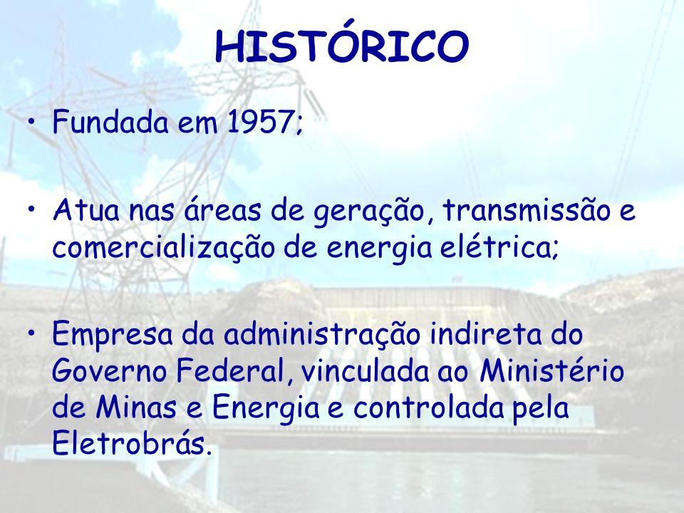 HISTÓRICO Fundada em 1957; Atua nas áreas de geração, transmissão e comercialização de energia elétrica;