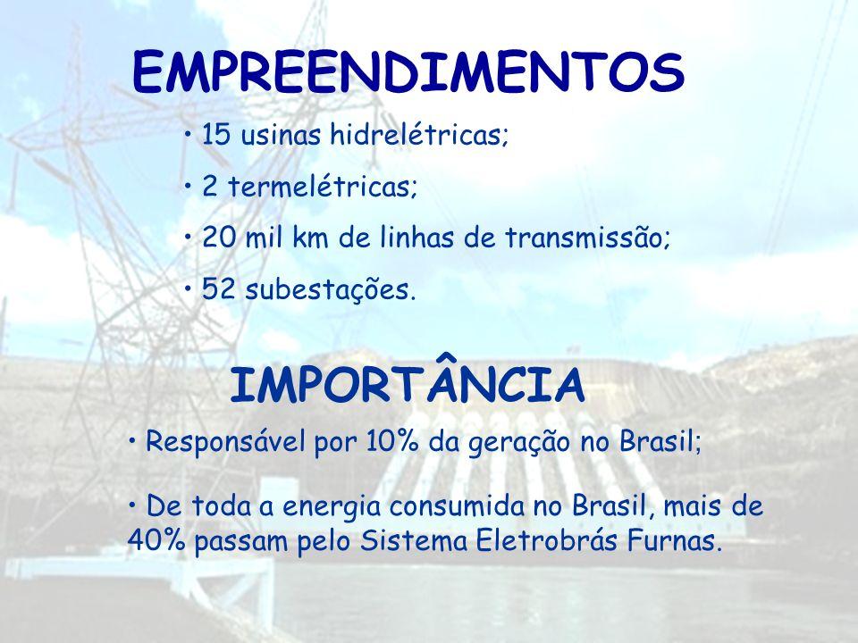 EMPREENDIMENTOS IMPORTÂNCIA 15 usinas hidrelétricas; 2 termelétricas;