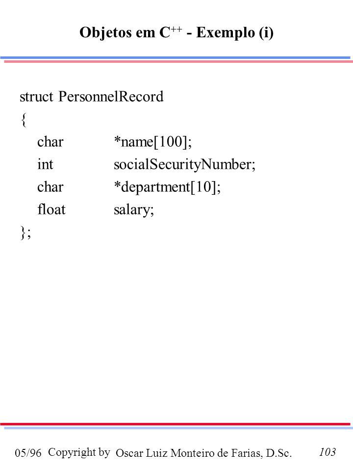 Objetos em C++ - Exemplo (i)