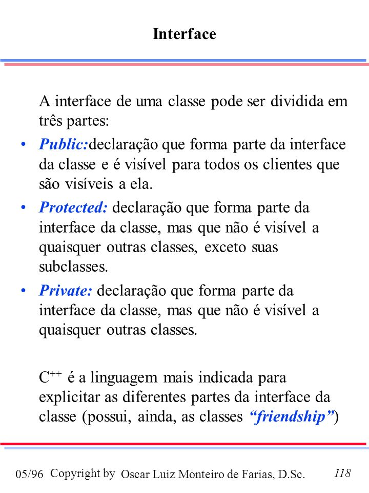 Interface A interface de uma classe pode ser dividida em três partes: