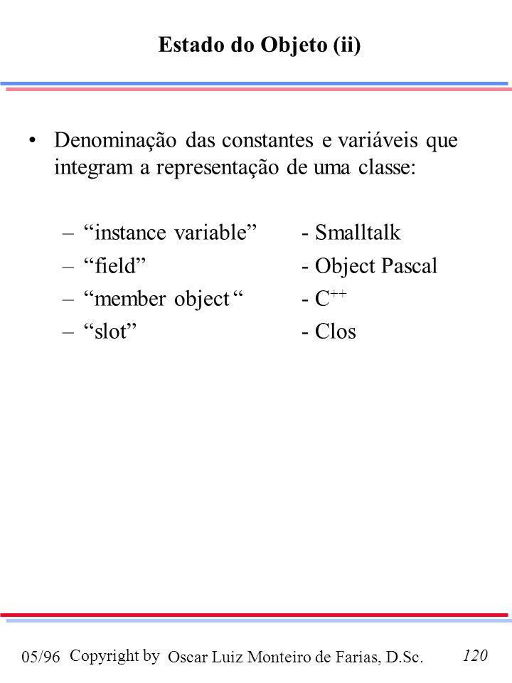 Estado do Objeto (ii) Denominação das constantes e variáveis que integram a representação de uma classe: