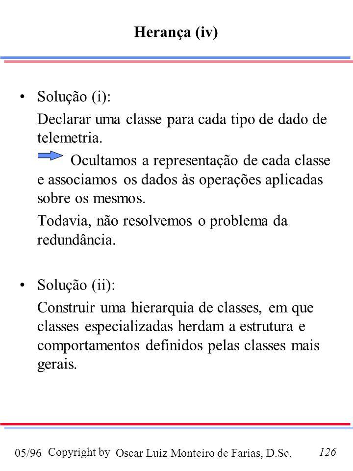 Herança (iv) Solução (i): Declarar uma classe para cada tipo de dado de telemetria.