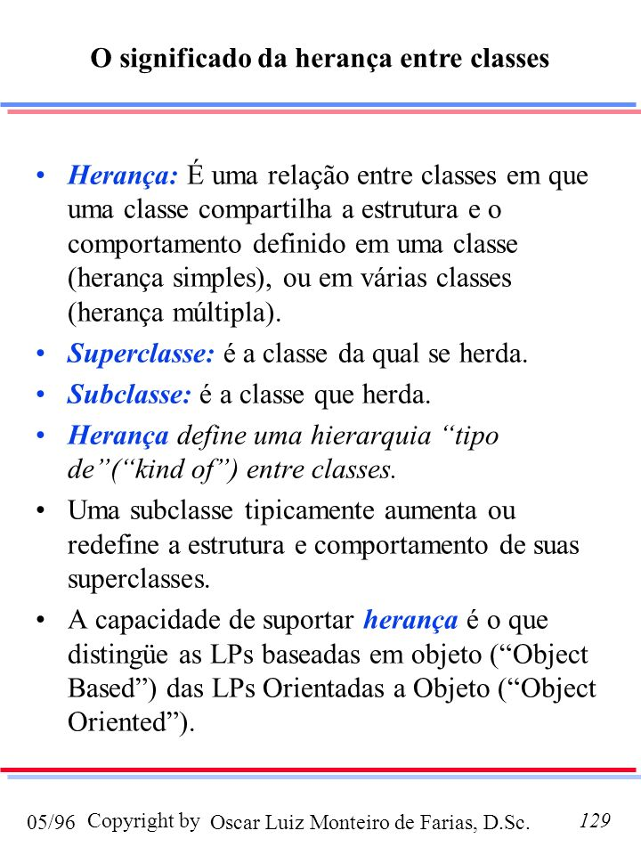 O significado da herança entre classes