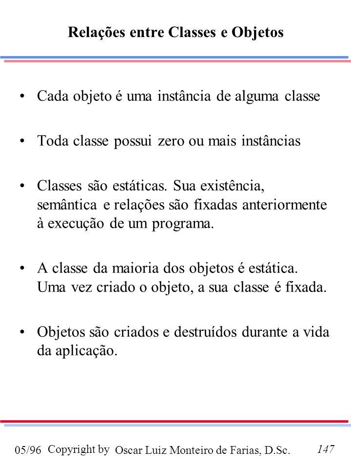 Relações entre Classes e Objetos