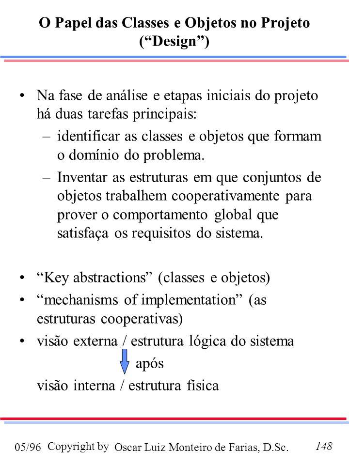 O Papel das Classes e Objetos no Projeto ( Design )