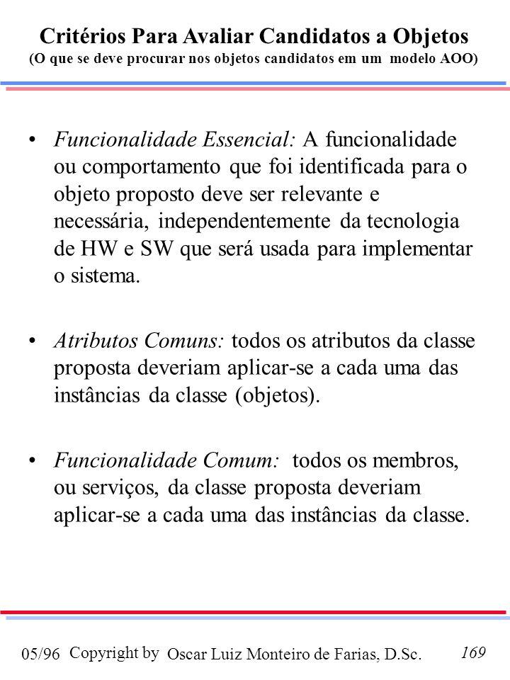 Critérios Para Avaliar Candidatos a Objetos (O que se deve procurar nos objetos candidatos em um modelo AOO)