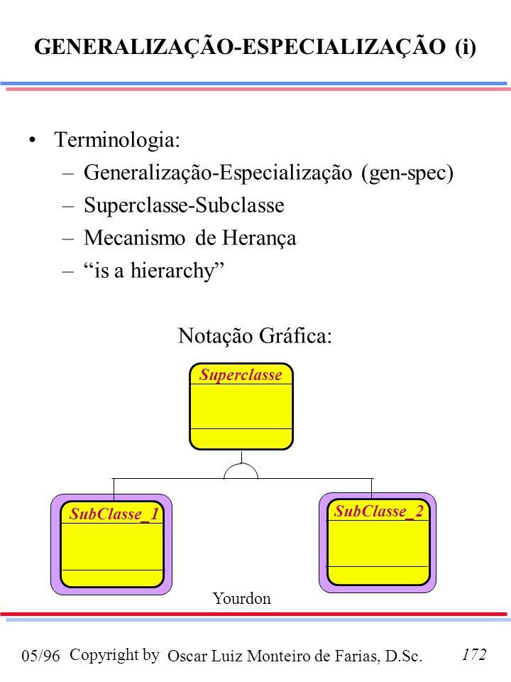 GENERALIZAÇÃO-ESPECIALIZAÇÃO (i)