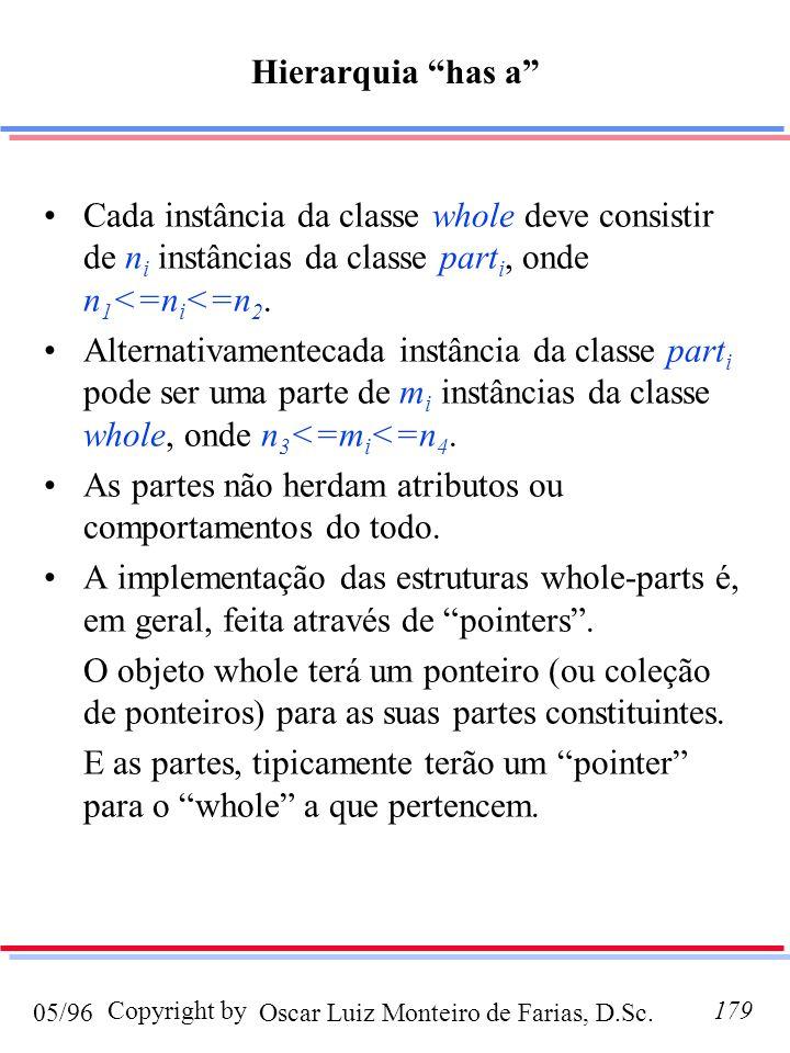 Hierarquia has a Cada instância da classe whole deve consistir de ni instâncias da classe parti, onde n1<=ni<=n2.