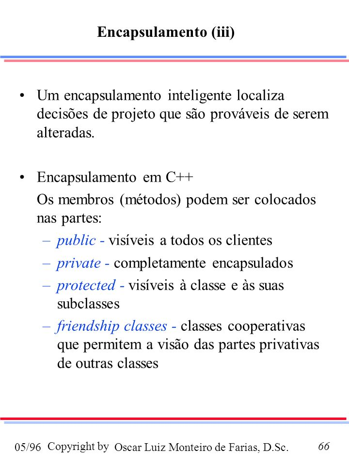 Encapsulamento (iii) Um encapsulamento inteligente localiza decisões de projeto que são prováveis de serem alteradas.