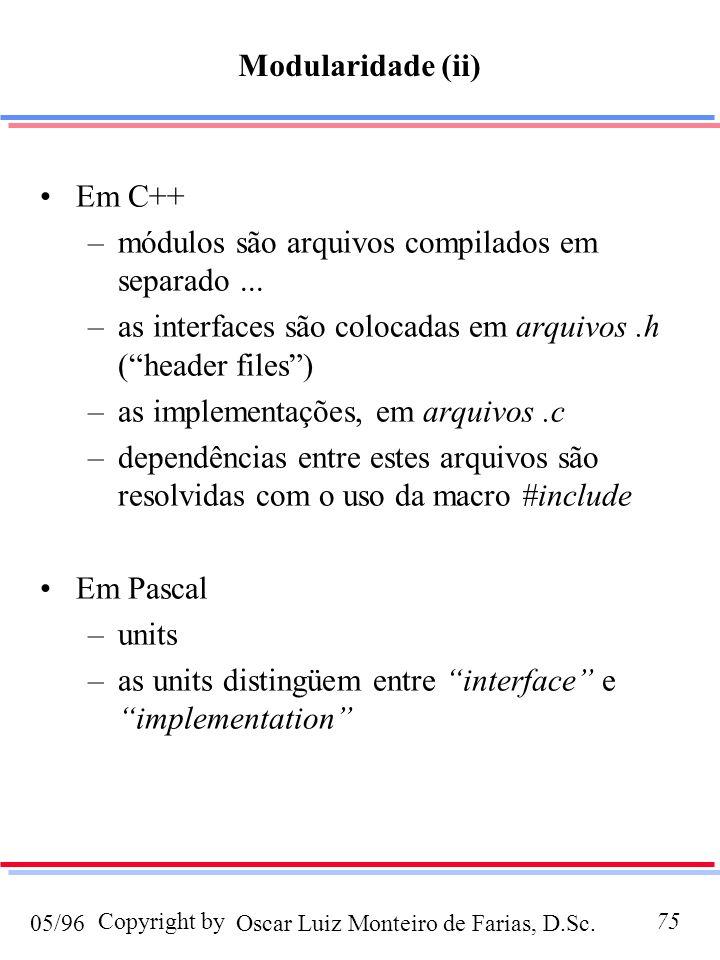 Modularidade (ii) Em C++ módulos são arquivos compilados em separado ... as interfaces são colocadas em arquivos .h ( header files )