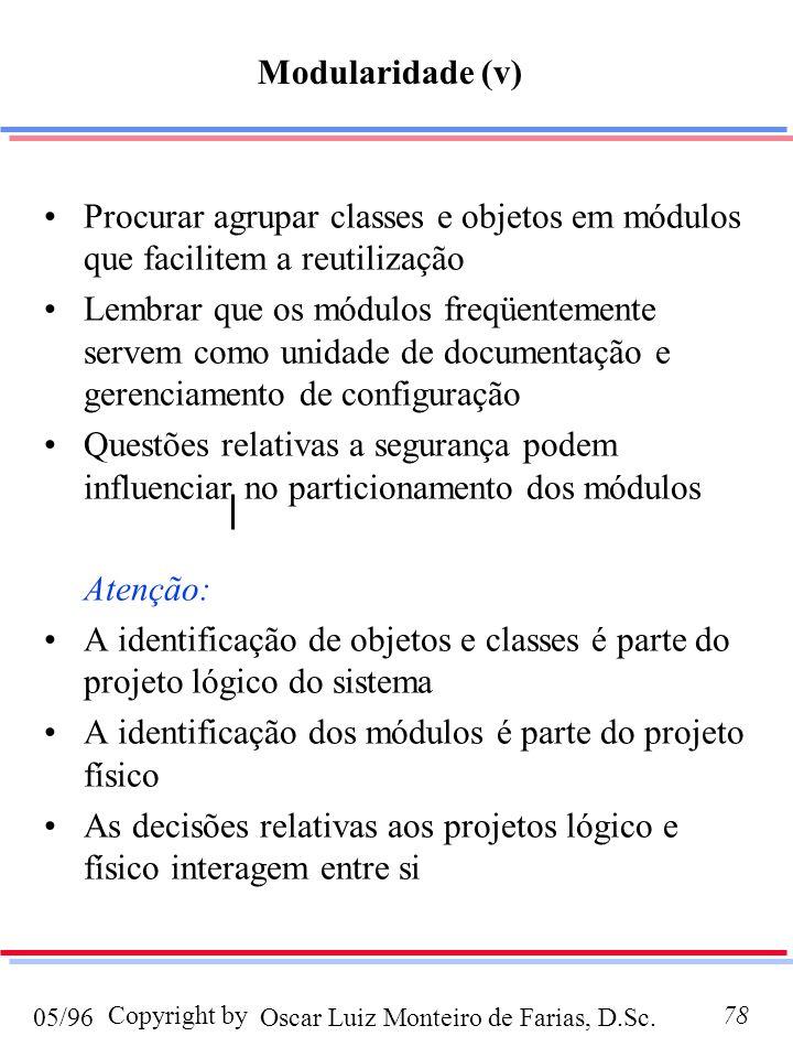 Modularidade (v) Procurar agrupar classes e objetos em módulos que facilitem a reutilização.