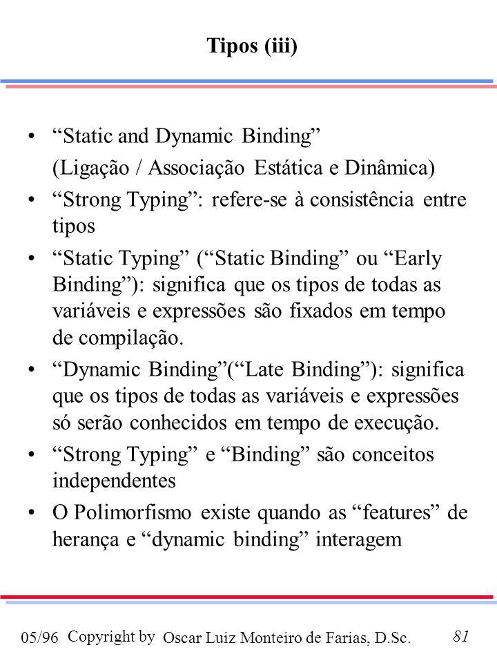 Tipos (iii) Static and Dynamic Binding (Ligação / Associação Estática e Dinâmica) Strong Typing : refere-se à consistência entre tipos.